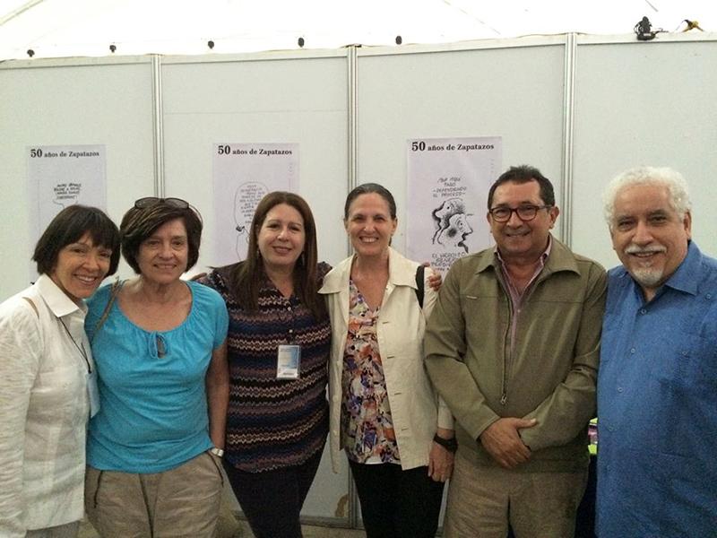Con Milagros Socorro, Yolanda Pantin, Francisco Suniaga y Leonardo Padrón, Filcar, Margarita, 2015.